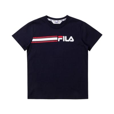 FILA KIDS 童短袖圓領T恤-丈青 1TET-4507-NV