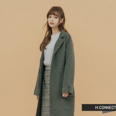 H:CONNECT 韓國品牌 女裝 - 氣質綁帶羊毛外套 - 墨綠