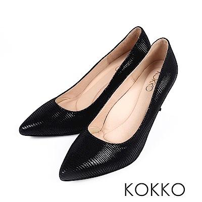KOKKO - 皇后高貴品格真皮尖頭高跟鞋-質亮黑