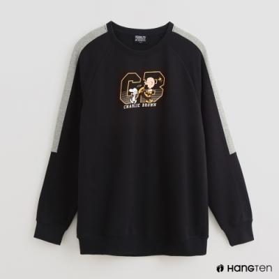 Hang Ten - 男裝-Charlie Brown-童趣印花配色長袖上衣-深藍