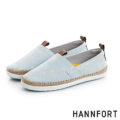 HANNFORT CALIFORNIA帆布草編懶人鞋-女-湖水藍