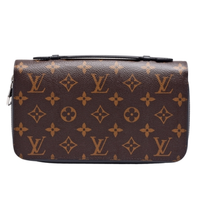 LV M61506經典Monogram帆布印花小牛皮飾邊拉鍊萬用手拿包