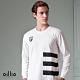 oillio歐洲貴族 男裝 長袖全棉圓領T恤 舒適超彈力 三橫條款 品牌繡標 素面簡約設計 年輕穿搭 白色 product thumbnail 1
