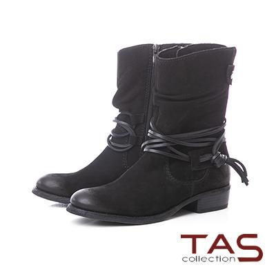 TAS繫踝綁帶抓皺金屬圓扣牛皮中筒靴–個性黑