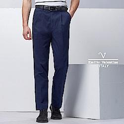 Emilio Valentino簡約紳士雙褶休閒褲_藍(77-8A1051)