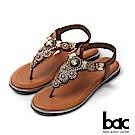 bac繽紛曼谷 - 波西米亞風格鑽飾夾腳拖涼鞋-咖啡色