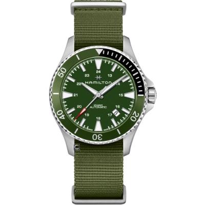 Hamilton漢米爾頓 KHAKI NAVY 卡其海軍系列 SCUBA AUTO機械腕錶(H82375961)-綠帆布/41mm