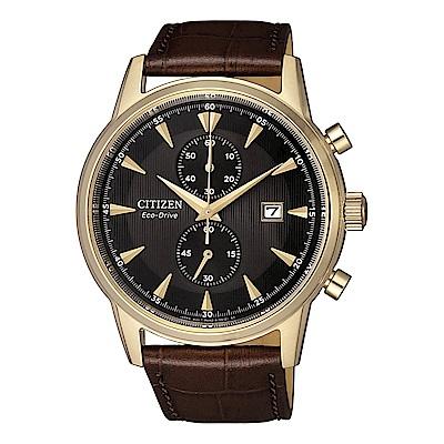 CITIZEN 星辰 Eco-Drive光動能電鍍日期窗皮帶男錶(CA7008-11E)