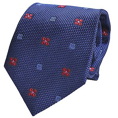 DAKS 經典品牌LOGO圖騰LOGO領帶(藍底)