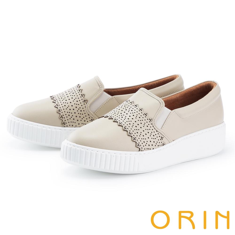 ORIN 鞋頭造型真皮厚底 女 休閒鞋 米色