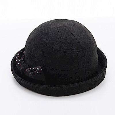 ELLE法式浪漫優雅時尚毛呢帽_黑