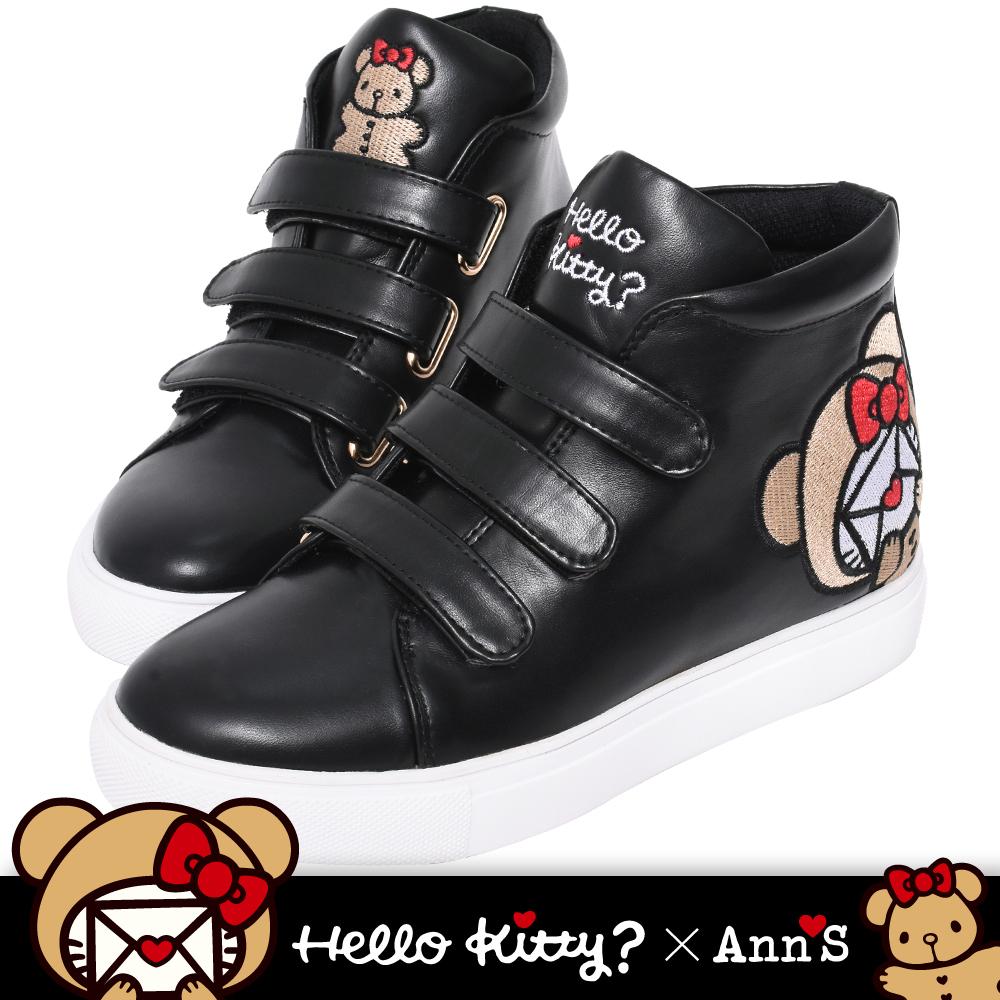 HELLO KITTY X Ann'S棕色熊熊三條魔鬼氈高筒球鞋-黑