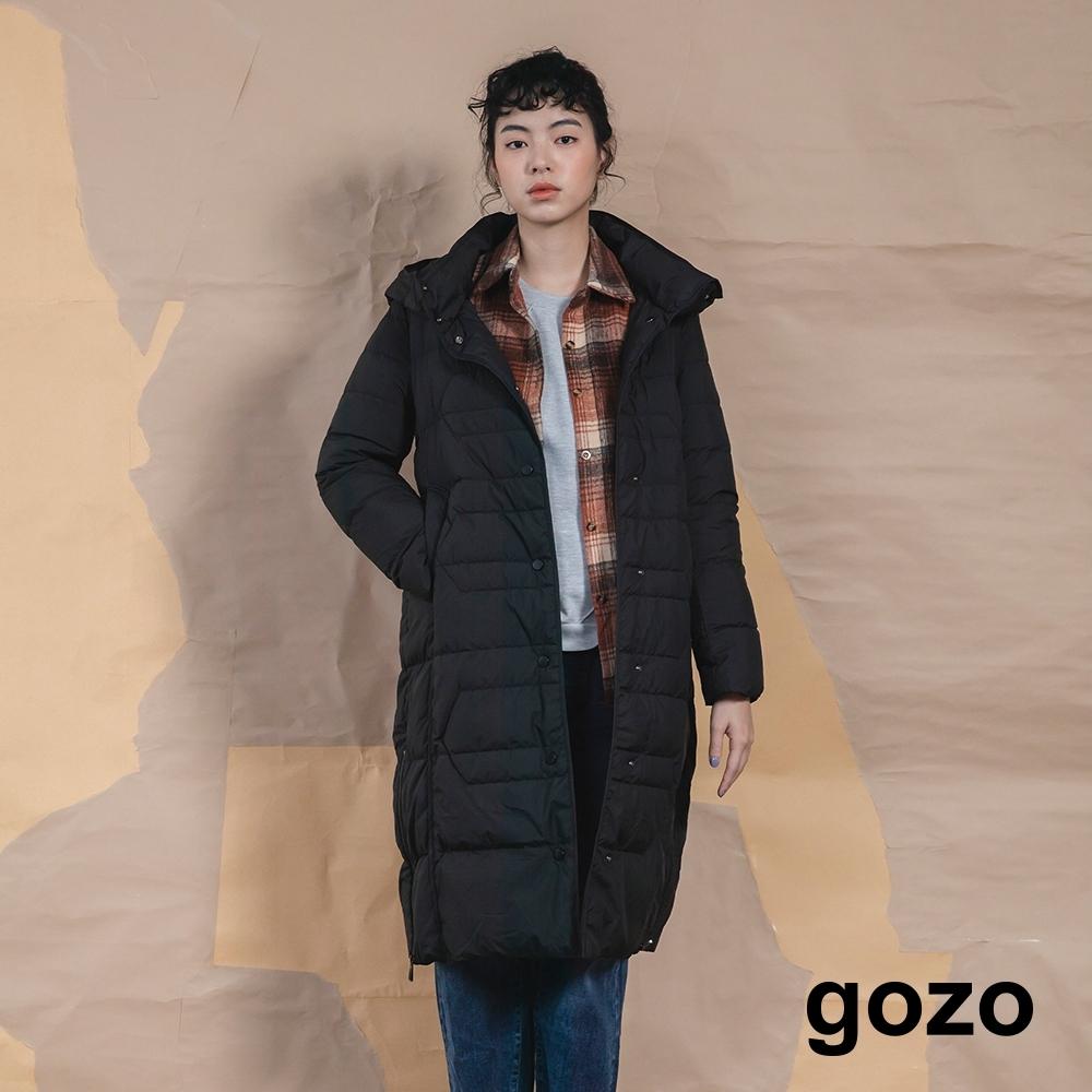 gozo 率性連帽立領長版白鴨絨羽絨外套(兩色)