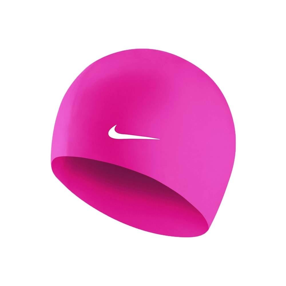 NIKE SWIM 成人矽膠泳帽-游泳 戲水 海邊 沙灘 93060-659 亮桃紅白
