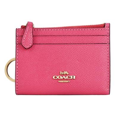 COACH 立體馬車LOGO素面防刮皮革卡夾鑰匙零錢包(洋紅)