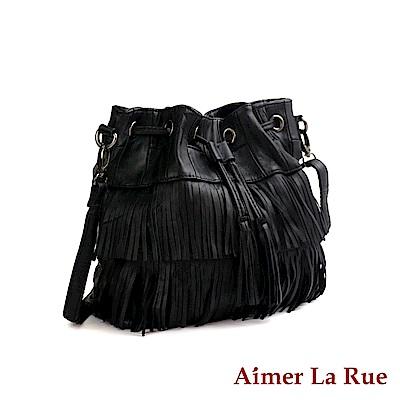 Aimer La Rue 水桶側背包 羊皮拼接流蘇黑森林系列(黑色)