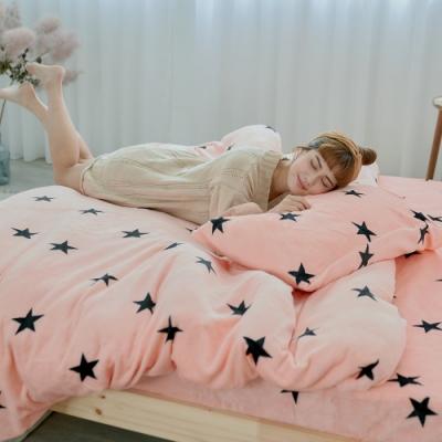BUHO 極柔暖法蘭絨兩用毯被床包雙人四件組(喜幻夢奇地)