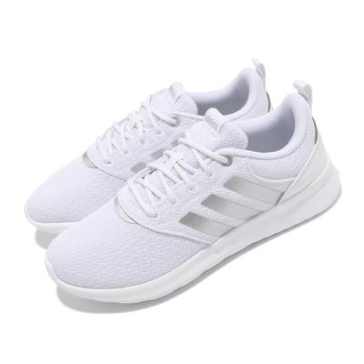 adidas 慢跑鞋 QT Racer 2 運動 女鞋 愛迪達 輕量 透氣 舒適 避震 路跑 白 銀 FY8313