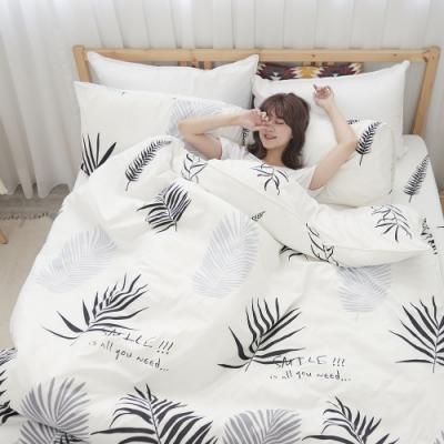 BUHO 雙人加大四件式舖棉兩用被床包組(葉羽墨玉)