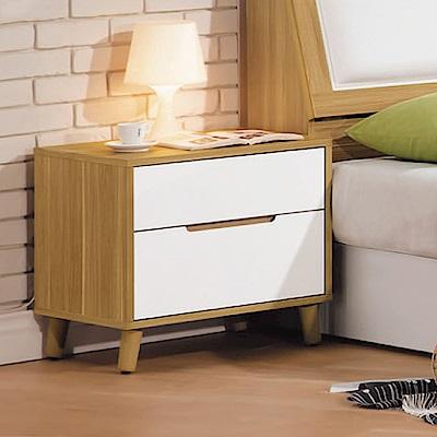 Boden-喬托1.8尺二抽床頭櫃/收納抽屜櫃-55x40x51cm
