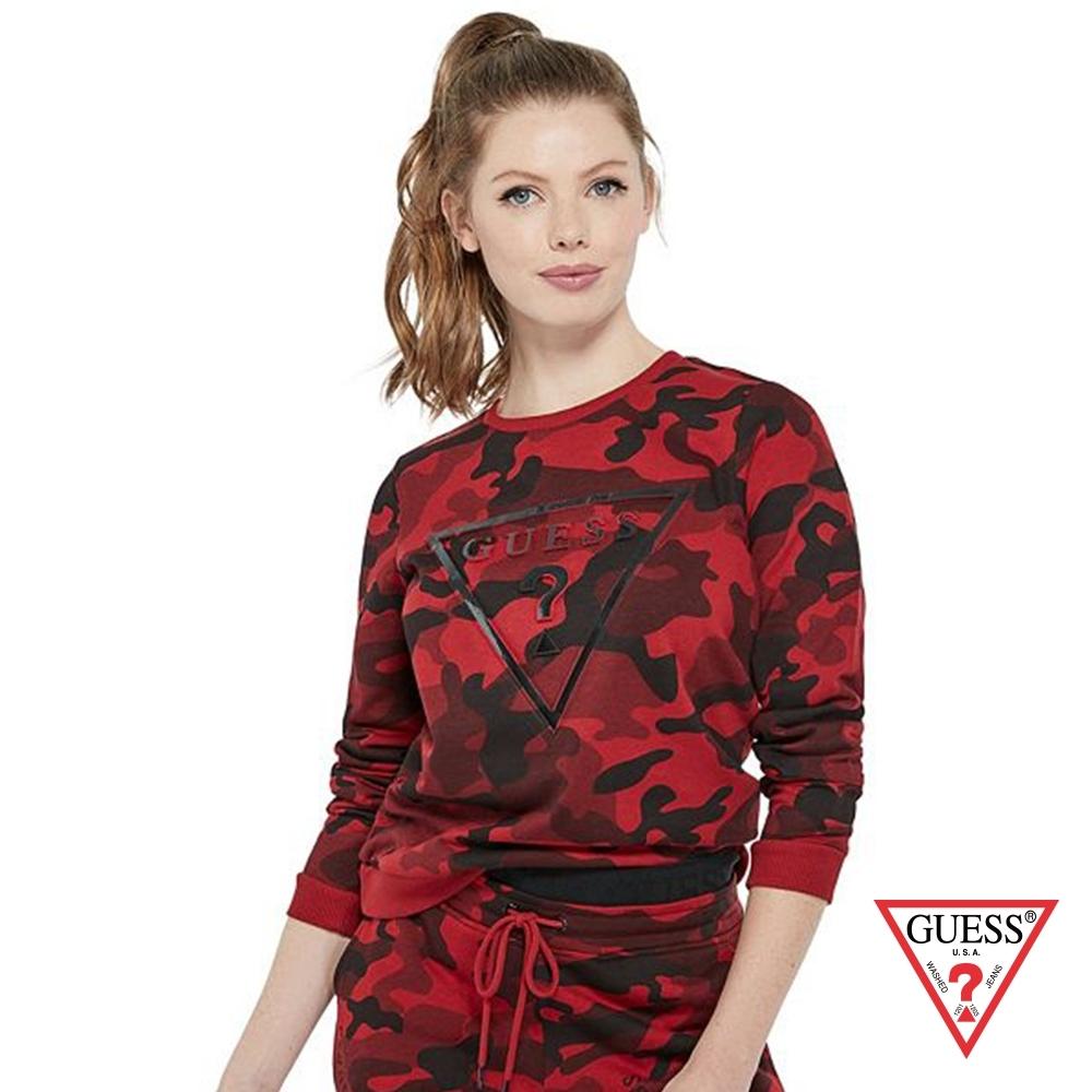 GUESS-女裝-個性迷彩倒三角LOGO長袖上衣-紅 原價2990