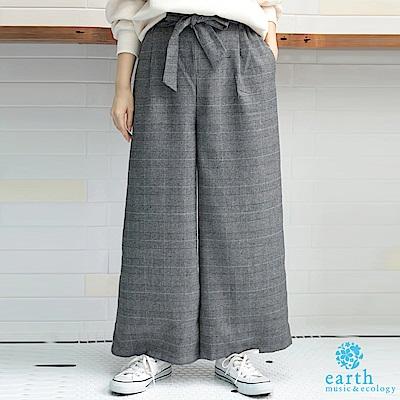 earth music 腰際綁結復古格紋寬褲