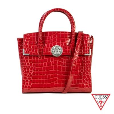 GUESS-女包-鱷魚皮壓紋手提肩背包-紅