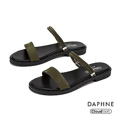 達芙妮DAPHNE 涼鞋-簡約一字帶鉚釘舒適平底拖鞋-綠色