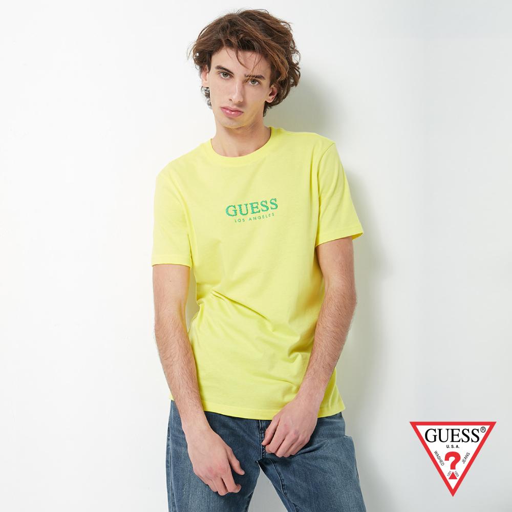 GUESS-男裝-點點印花LOGO經典短T,T恤-黃 原價1390