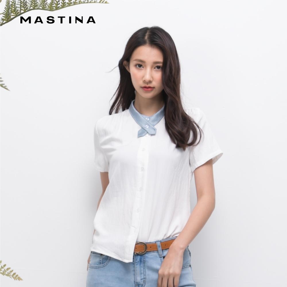 【MASTINA】佾皮撞色小立領短袖-襯衫(二色)