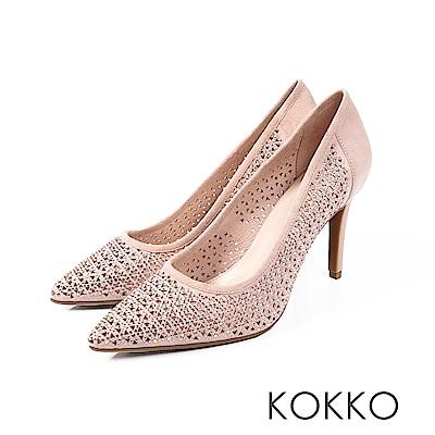 KOKKO - 永恆愛戀訂製閃鑽鏤空高跟鞋-完美粉