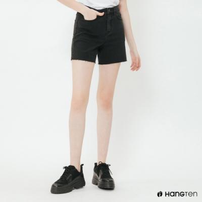 Hang Ten - 女裝 - 素面純色高腰牛仔短褲 - 黑