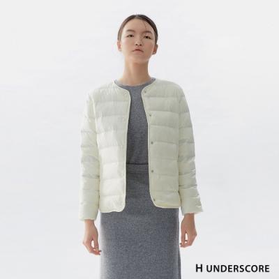 Hang Ten-女裝-簡約排扣輕羽絨外套-白