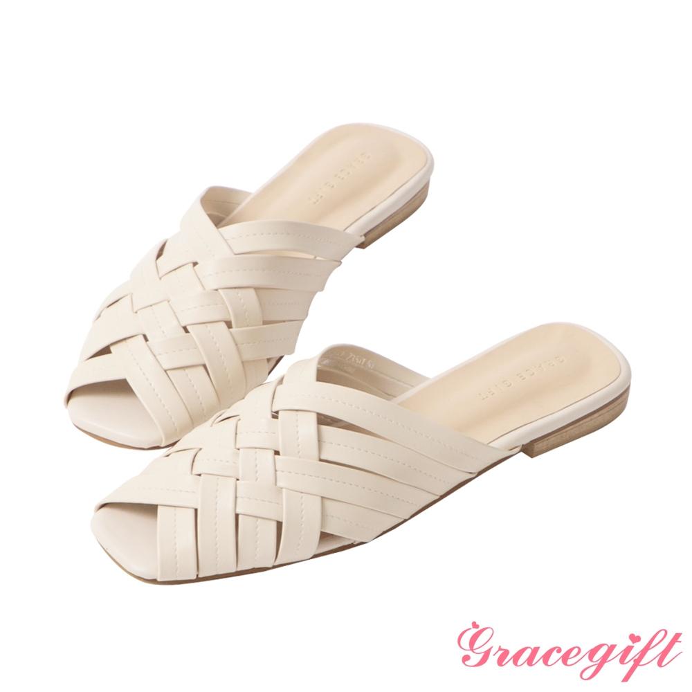 Grace gift-方頭編織低跟穆勒鞋 米白