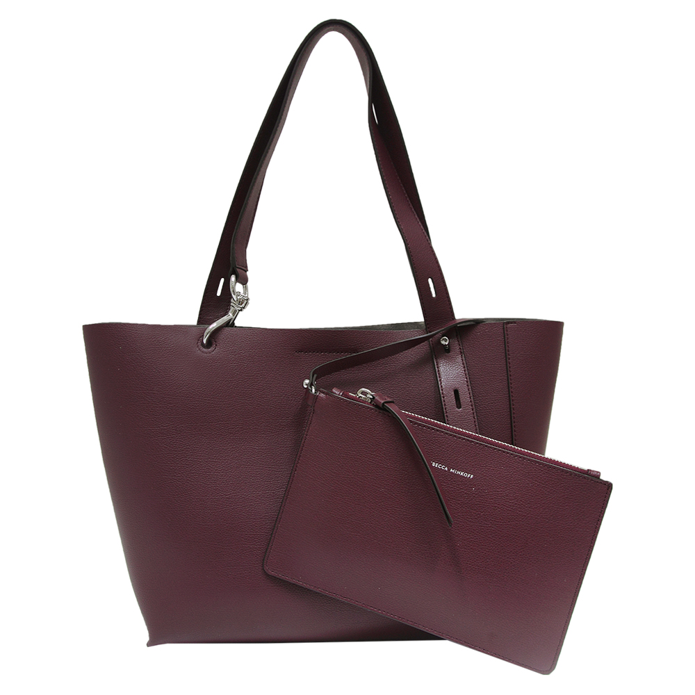 REBECCA MINKOFF 不對稱設計牛皮肩背包-酒紅色(中) @ Y!購物