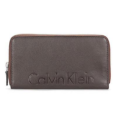 Calvin Klein 荔枝皮革壓印LOGO拉鍊長夾-咖啡色