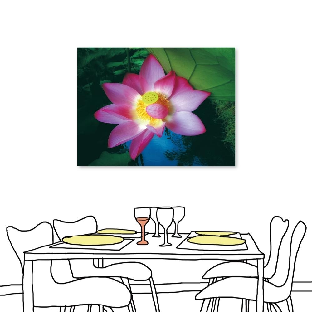 24mama掛畫 單聯式 自然植物 花卉無框畫 時鐘掛畫 60x80cm-蓮花