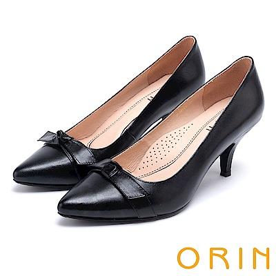 ORIN 典雅時尚女人 全真皮蝴蝶結尖頭高跟鞋-黑色