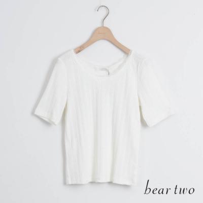 beartwo- 圓領蕾絲純色上衣-白