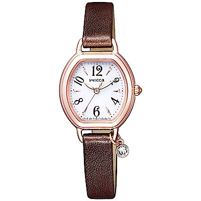 CITIZEN WICCA星辰質感晶鑽真皮手錶(KP2-566-10)-白X咖啡/24mm
