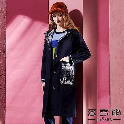 【麥雪爾】純棉韓風個性徽章連帽長版風衣