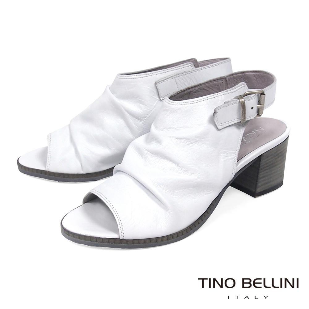 Tino Bellini 義大利復古感全真皮高跟魚口涼鞋_ 白