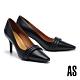 高跟鞋 AS 典雅氣質層疊鼓帶牛皮方頭高跟鞋-黑 product thumbnail 1