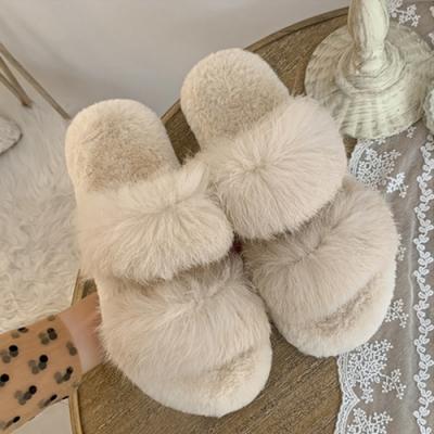 KEITH-WILL時尚鞋館-奢華晚宴絨毛保暖拖鞋-米白色
