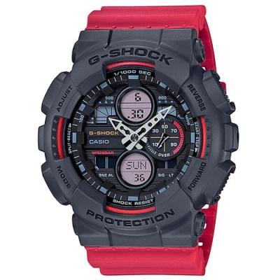 G-SHOCK 現代百搭復古攜帶式音響概念休閒錶(GA-140-4A)紅X黑/51.2mm