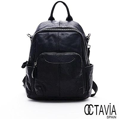 OCTAVIA8 真皮 - 駭客主義 全牛皮中性多口袋功能後背包 - 骨牌黑