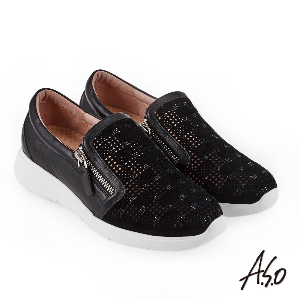 A.S.O Q彈紓壓 真皮絨面拉鍊奈米休閒鞋 黑