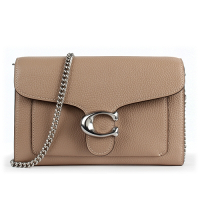 COACH TABBY 質感荔枝紋皮革金屬C字鏈帶斜背包/手拿晚宴包-灰褐色