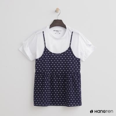 Hang Ten- 青少童裝-假兩件式碎花T恤-深藍