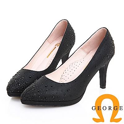 GEORGE 喬治皮鞋 婚鞋系列 繁星水鑽典雅氣質跟鞋 -黑
